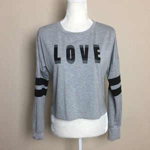 "Material Girl ""LOVE"" Grey Sweatshirt T-Shirt"